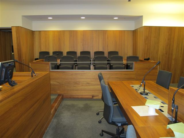 Jury box conversion to accommodate criminal trials in Court 1.9