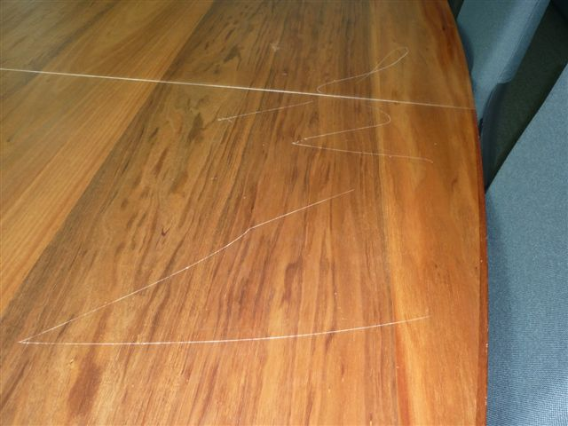 Damage to timber table